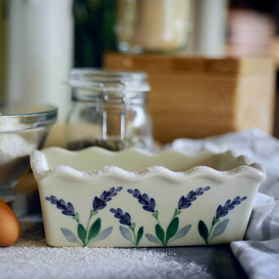 Beautiful decorative lavender floral pattern on bread baking pan
