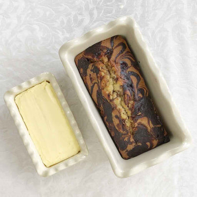5 Inch Stoneware Butter Dish and Mini Loaf Pan with Provençal Lavender Design