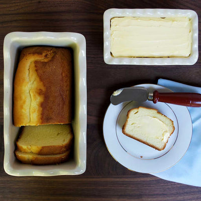 Pound Cake and Butter in Stoneware Butter Dish and Mini Loaf Pan with Lavender Design Made in USA