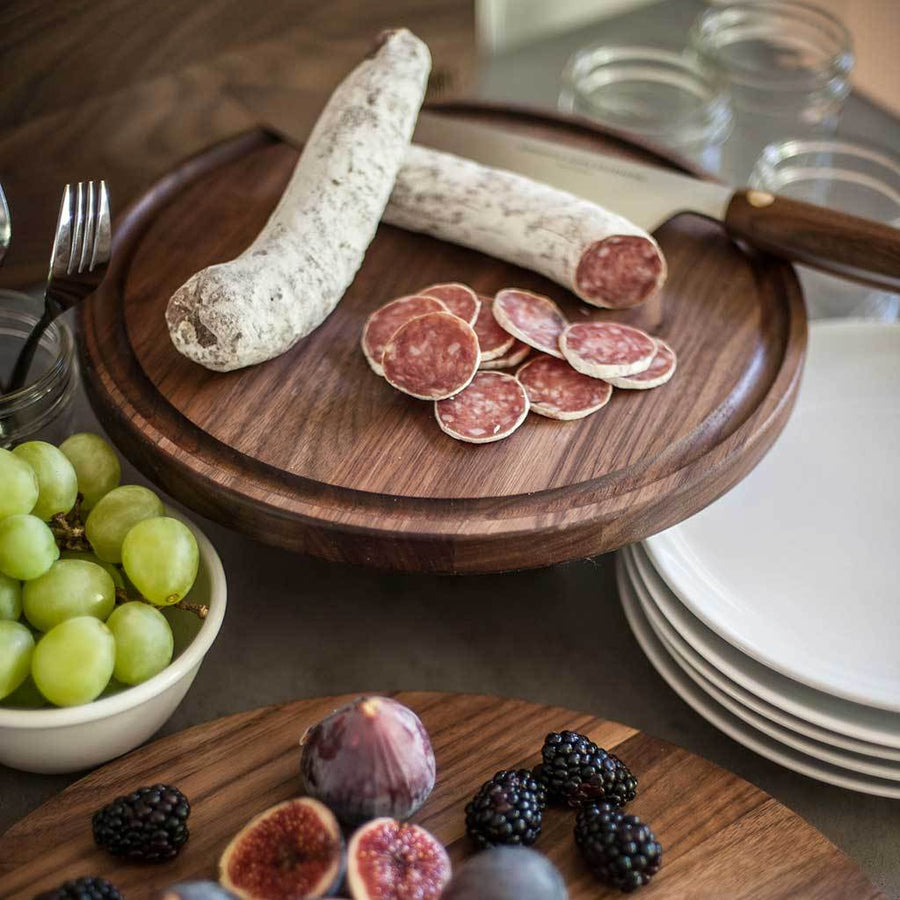 Round Walnut Wood Cheese Board with Juice Drip Groove