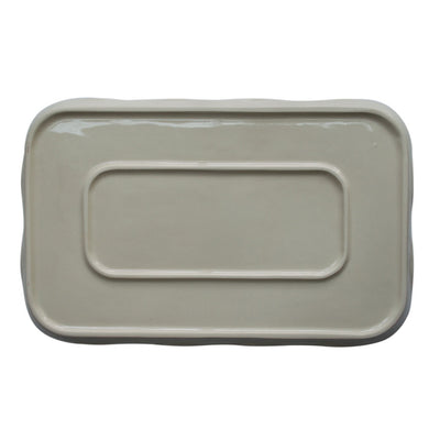 Bottom of Stoneware Rectangular Serving Tray with Handpainted Lavender Design Made in USA