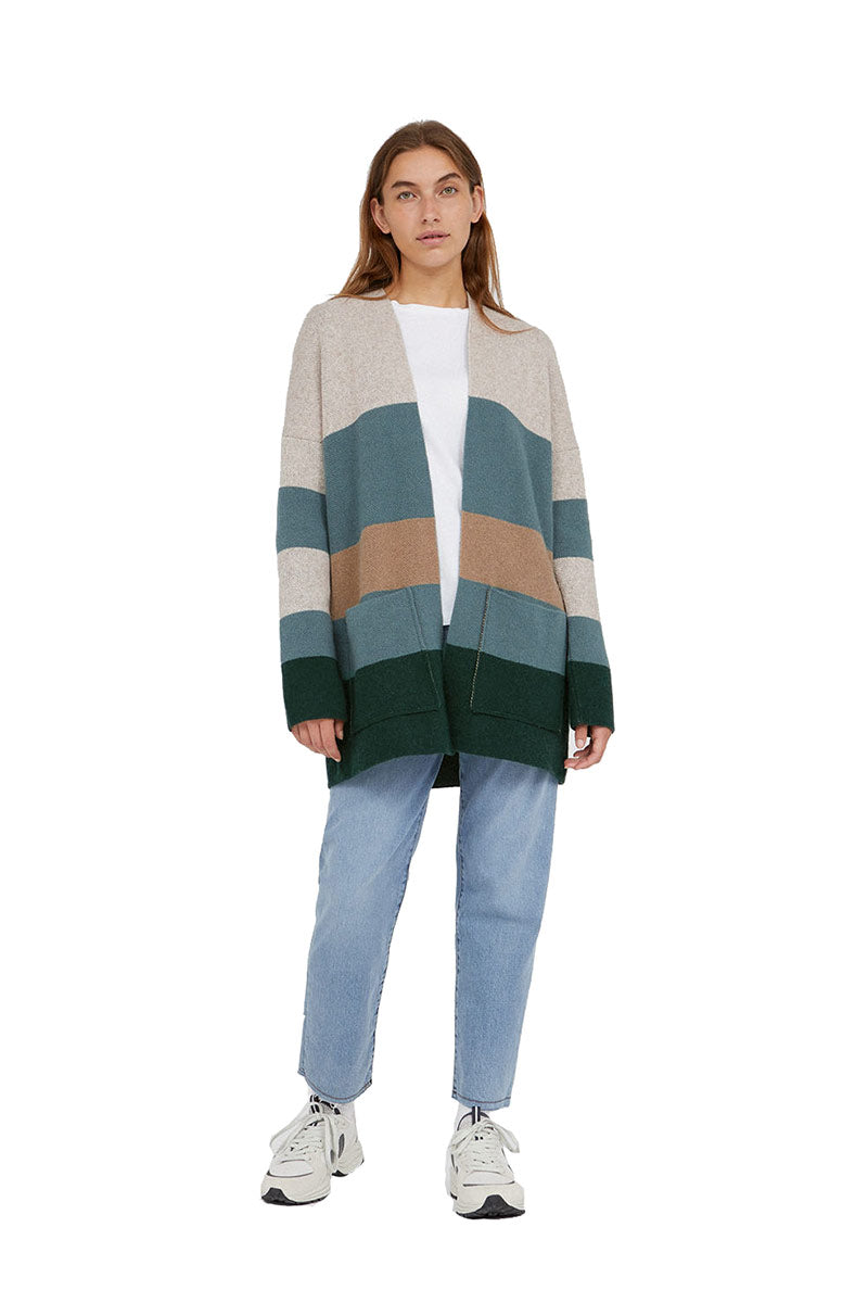 ARMEDANGELS Maayumi Block Stripes Deep Lake Soft Moss | Sophie St…
