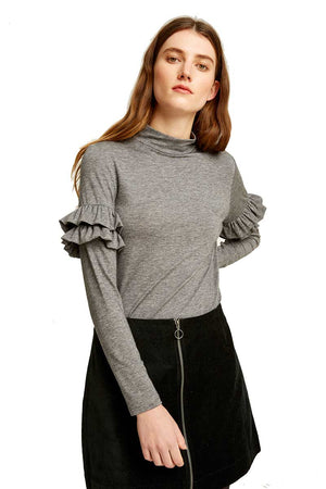 People Tree Cecilia top grey melange | Sophie Stone