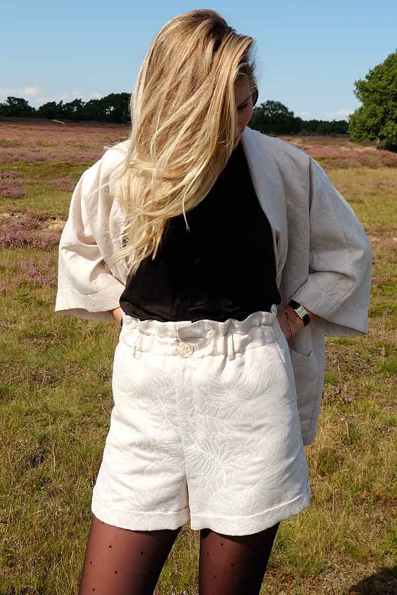 Wasted Atelier Fanny golden jacquard shorts | Sophie Stone