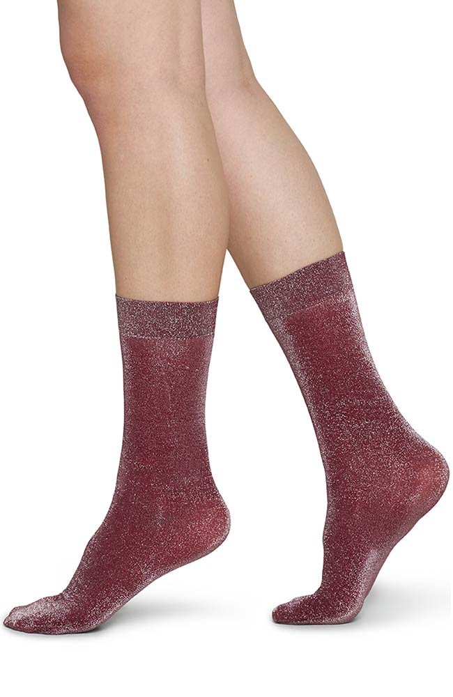 Swedish Stockings Ines Wine glitter sokjes | Sophie Stone