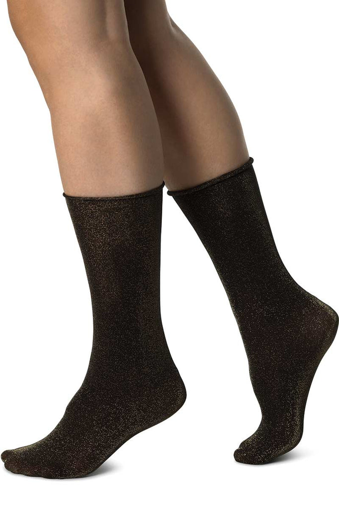 Swedish Stockings Lisa Lurex goud glittersok | Sophie Stone