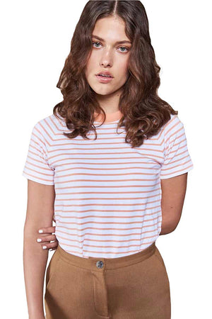 Jan 'n June T-shirt Quito Striped Cantaloupe White | Sophie Stone