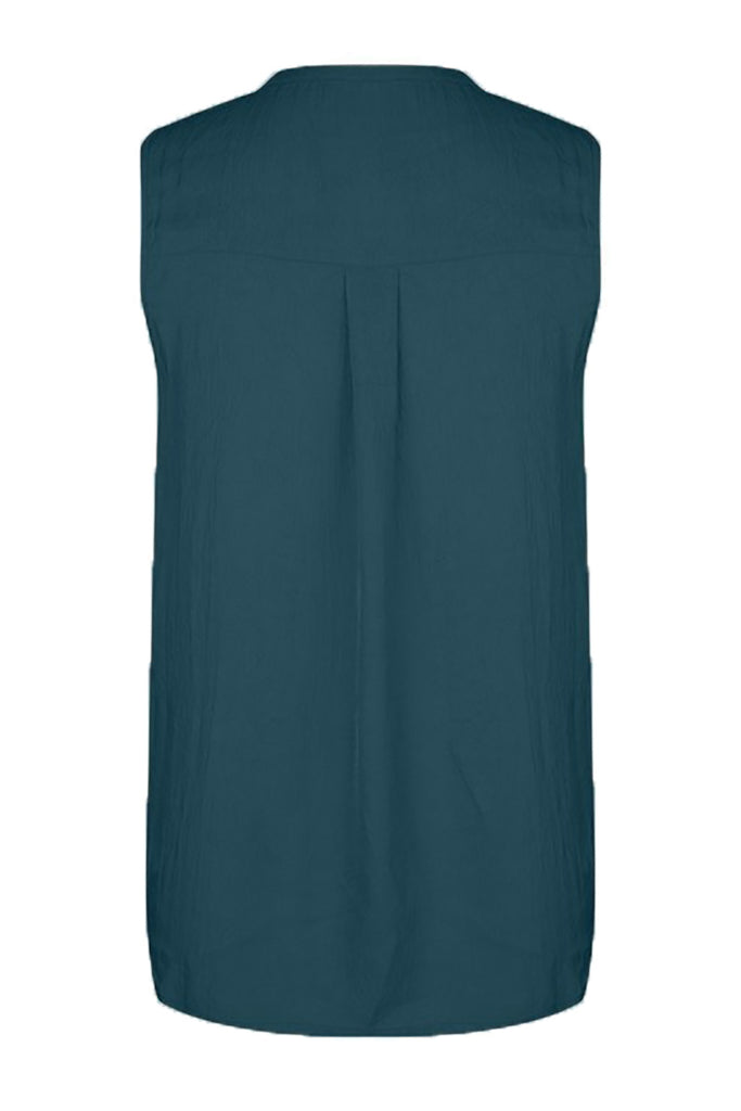 Sleeveless Studio JUX zeegroene vegan silk top | Sophie Stone