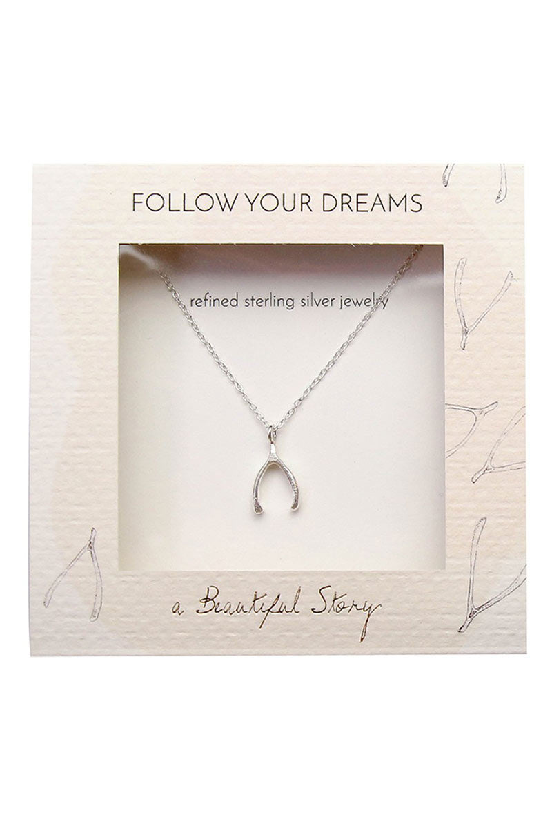 Delicate Wishbone sterling silver necklace