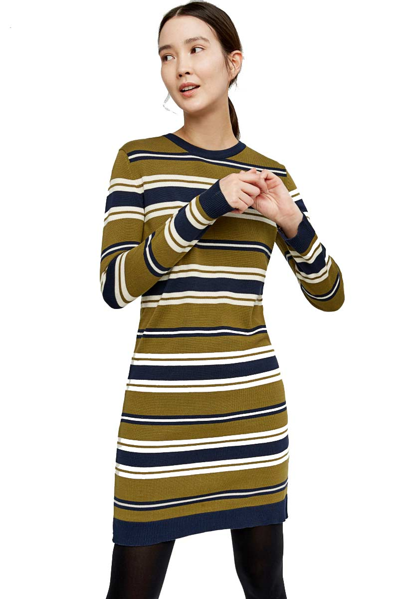 People Tree Dionne Knitted Dress navy olive green | Sophie Stone