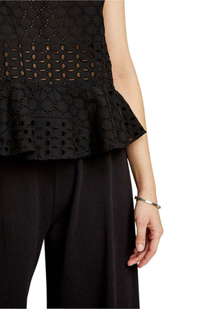 People Tree Karin broderie top black | Sophie Stone