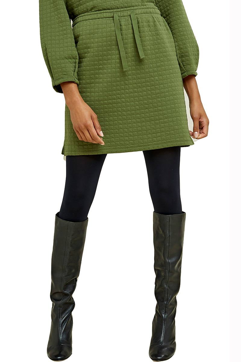 People Tree Lia quilted skirt green bio cotton | Sophie Stone
