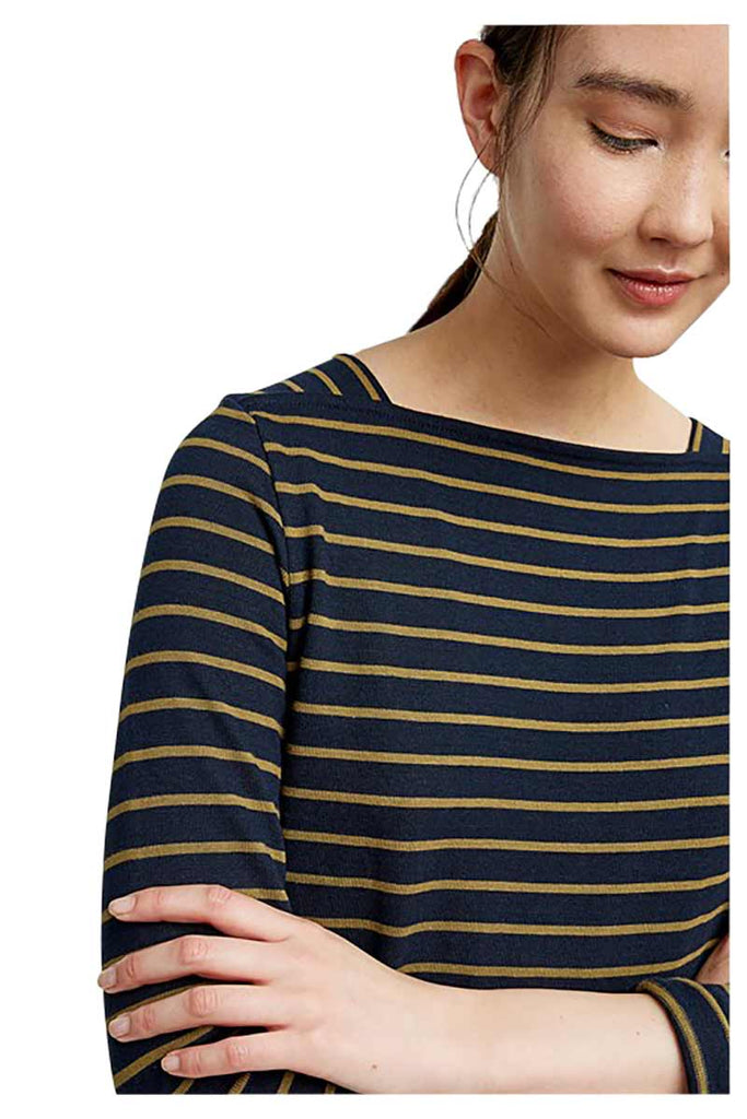 People Tree Lucille Stripe dress navy | Sophie Stone