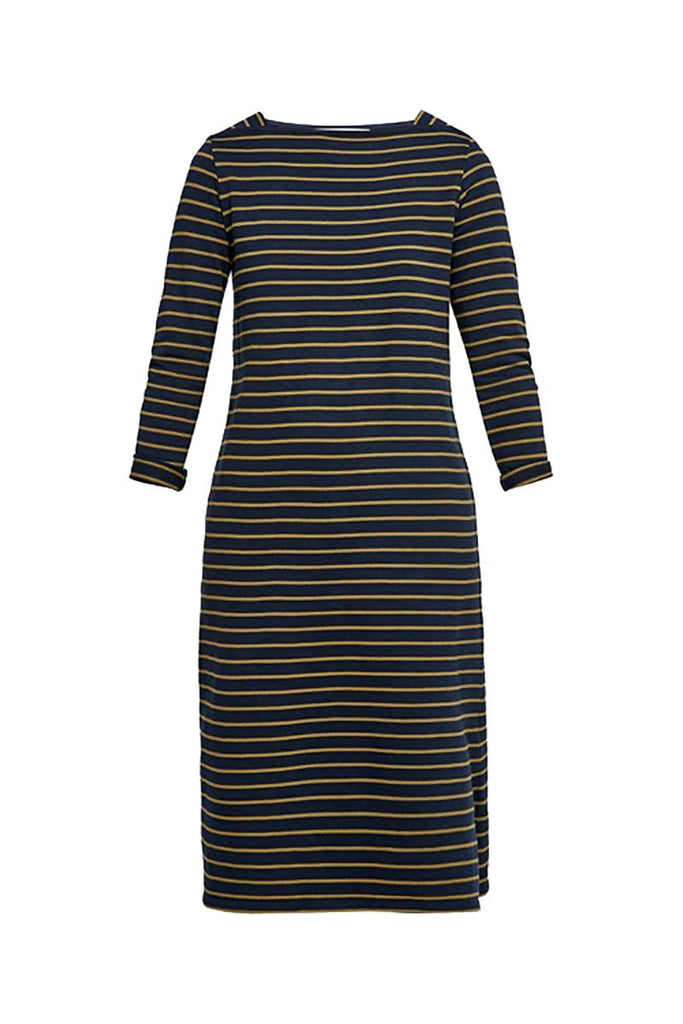 People Tree Lucille Stripe dress navy olive green | Sophie Stone
