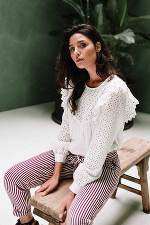 J-LAB3L Shanti blouse wit broderie | Sophie Stone
