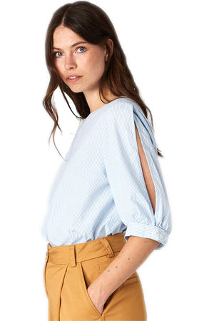Kings of Indigo Taliesin blouse blue white | Sophie Stone