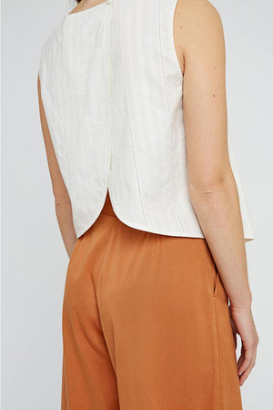 People Tree Tavi sleeveless top wit | Sophie Stone