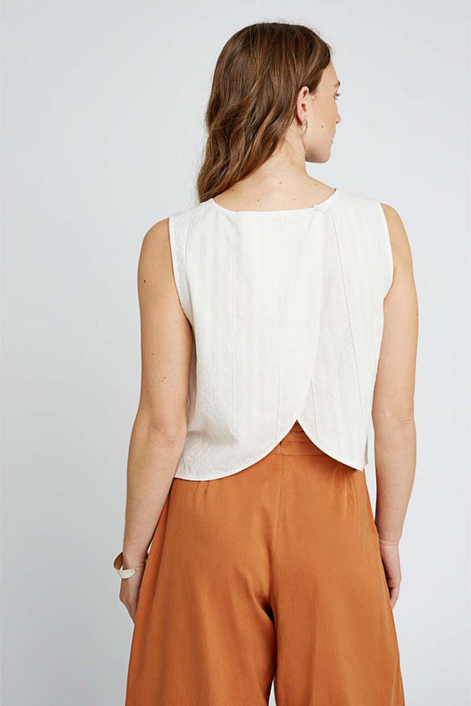 People Tree Tavi sleeveless top eco white | Sophie Stone