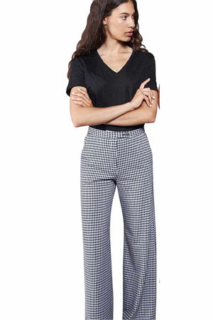 Jan 'n June wide pants Tonala Check Black White | Sophie Stone