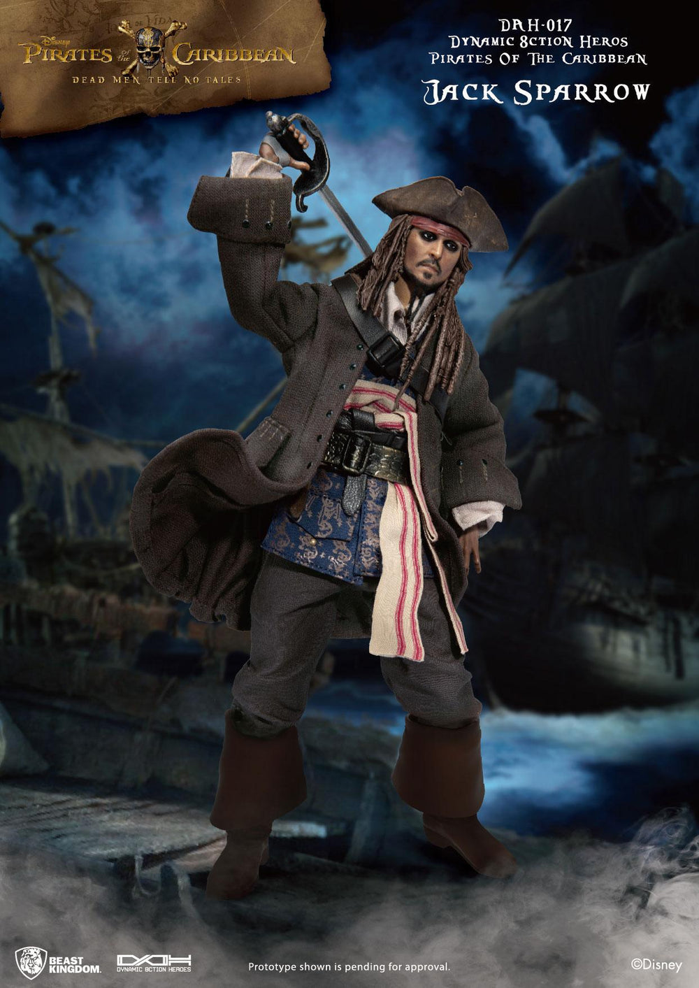 Beast Kingdom Pirates of the Caribbean Jack Sparrow Dynamic 8ction Heroes 1/9 Action Figure