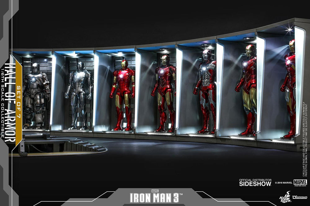 Hot Toys Avengers Iron Man 3 Hall of Armor (Set of 7) 1/6 Diorama Set