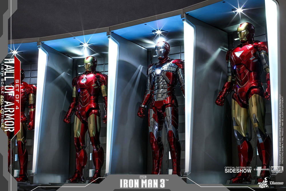 Hot Toys Avengers Iron Man 3 Hall of Armor (Set of 4) 1/6 Diorama Set