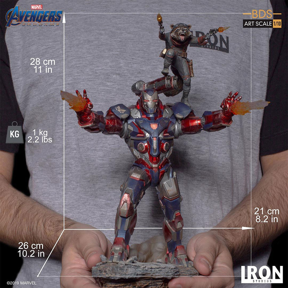 Iron Studios Avengers: Endgame Iron Patriot & Rocket Battle Diorama Series Art Scale 1/10 Statue