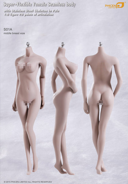 Phicen S01A Pale, Middle Breast Size Female Seamless 1/6 Body Action Figure - Movie Figures