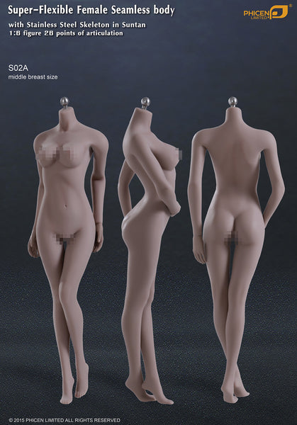 Phicen S02A Suntan, Middle Breast Size Female Seamless 1/6 Body Action Figure - Movie Figures