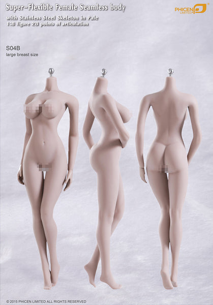 Phicen S04B Pale, Large Breast Size Female Seamless 1/6 Body Action Figure - Movie Figures