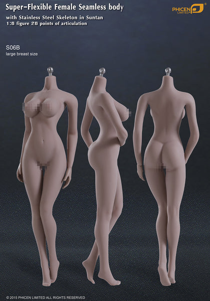 Phicen S06B Suntan, Large Breast Size Female Seamless 1/6 Body Action Figure - Movie Figures