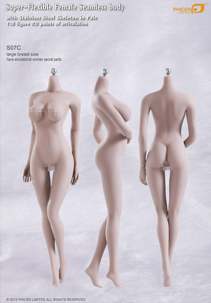 Phicen S07C Pale, Large Breast Size Female With Genitalia Seamless 1/6 Body Action Figure - Movie Figures