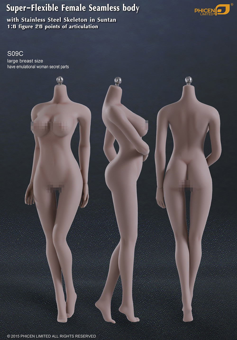 Phicen S09C Suntan, Large Breast Size Female With Genitalia Seamless 1/6 Body Action Figure - Movie Figures