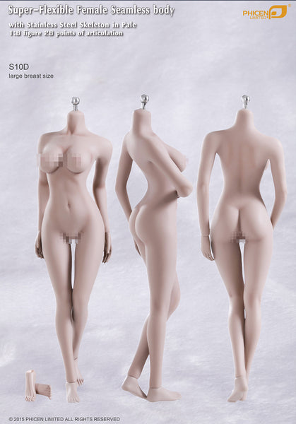 Phicen S10D Pale, Large Breast Size Female With Removable Feet Seamless 1/6 Body Action Figure - Movie Figures