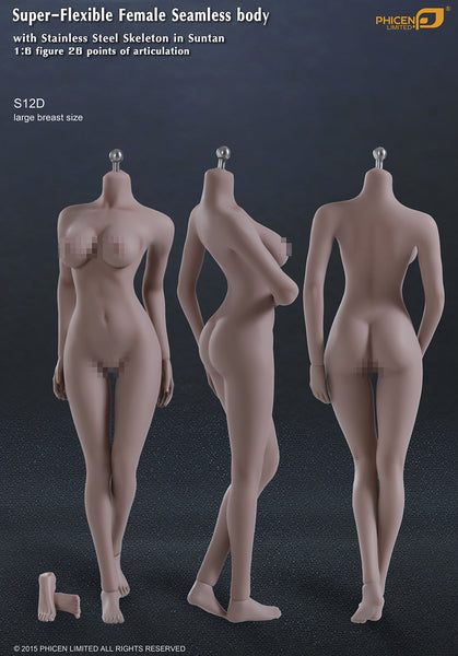 Phicen S12D Suntan, Large Breast Size Female With Removable Feet Seamless 1/6 Body Action Figure - Movie Figures