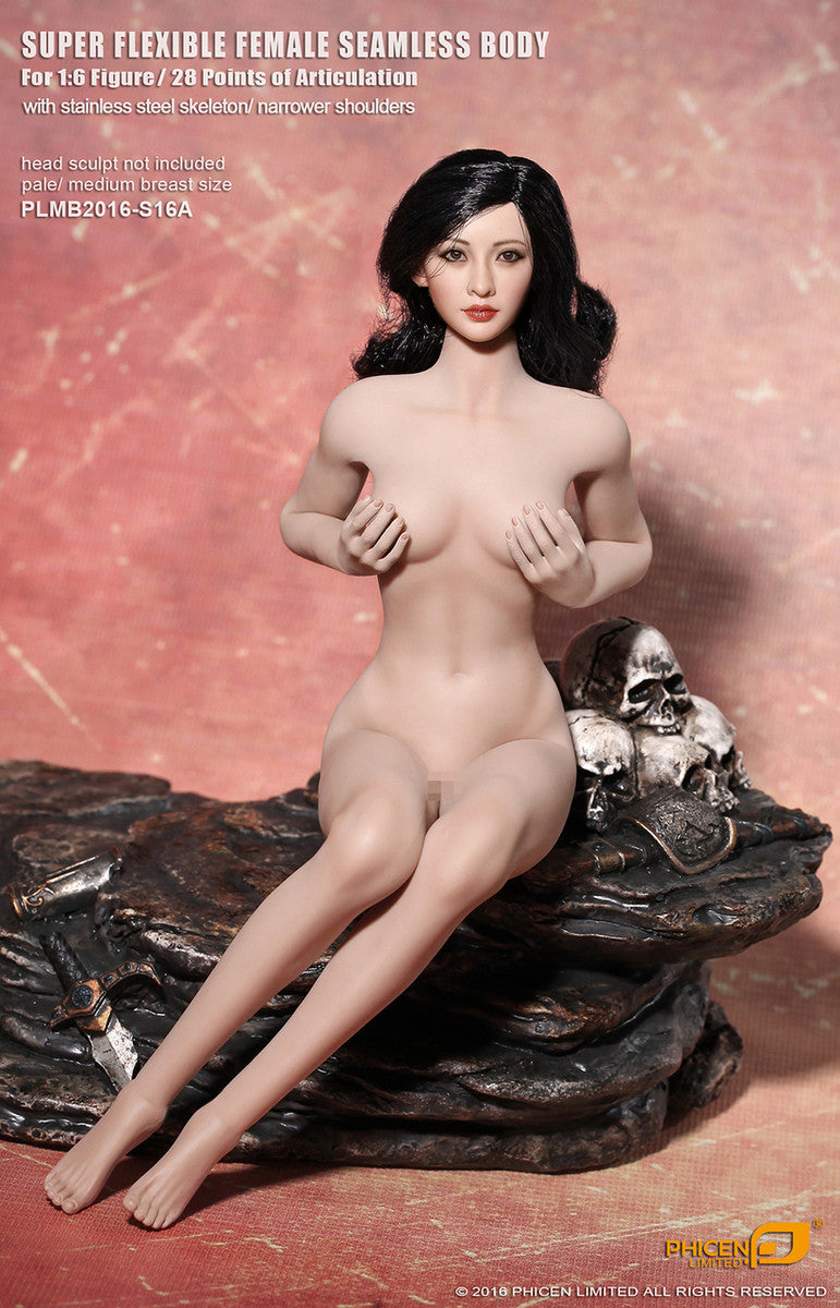 Phicen S16A Pale, Medium Breast Size Female With Removable Feet Seamless 1/6 Body Action Figure - Movie Figures - 3