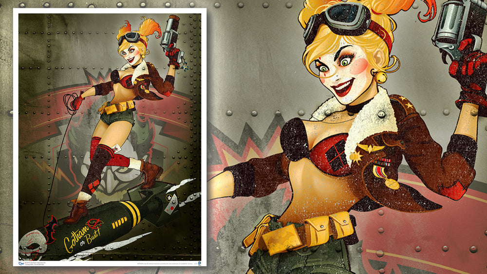 Quantum Mechanix DC Bombshells Harley Quinn Gotham or Bust Art Print - Movie Figures - 2