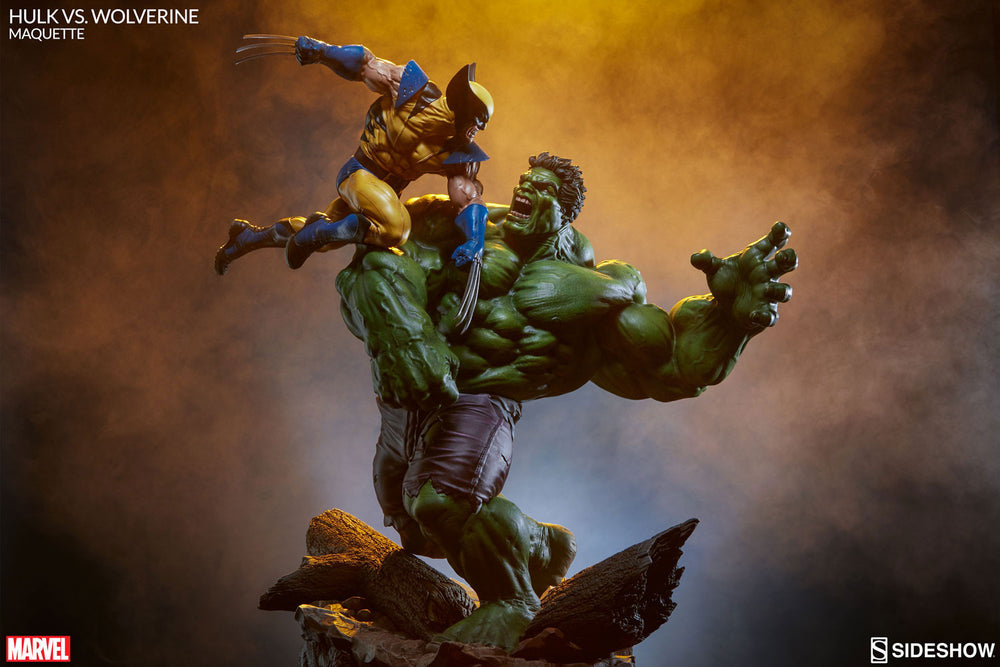 Sideshow Collectibles Marvel Hulk vs. Wolverine  Maquette Statue - Movie Figures - 3