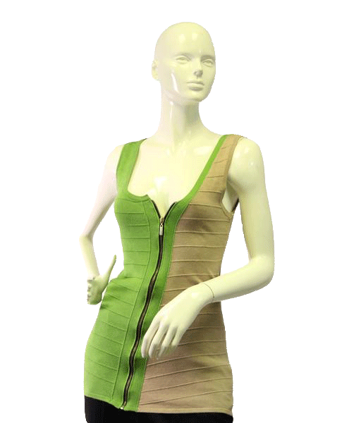Tan and Green Assymetrical Zip Up Top Size M (SKU 000024)
