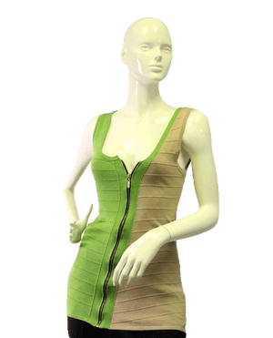 Juno New York 60's Top Asymmetrical  Green & Tan Size M (SKU 000024)