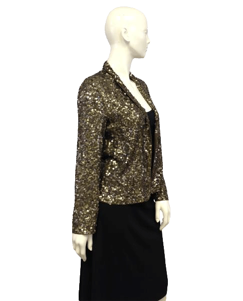 Antik & Batik 80's Jacket Olive Green Sequins Long Sleeves Size M SKU 000096