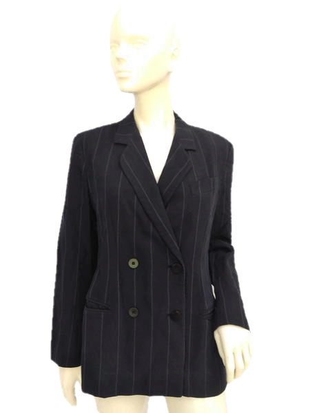 Giorgio Armani Pin Striped Navy Blue Double Breasted Blazer Size 10 SKU 000180
