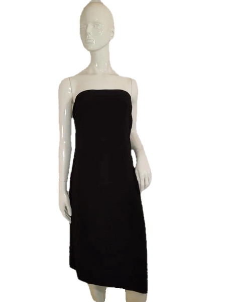 White House Black Market  Strapless V Neck Black Short Cocktail Dress Size 2 SKU 000136