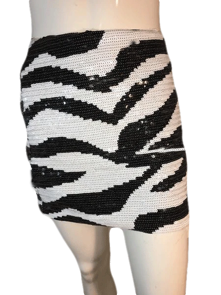 Bebe Zebra Striped Sequin Mini Skirt in Black and White Size L SKU 000202