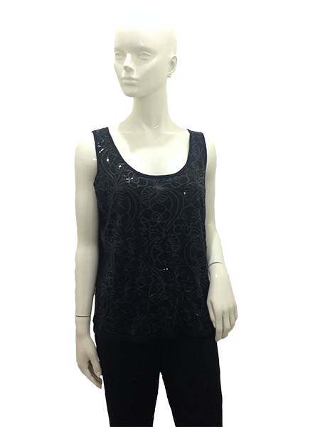 St. John Top Black With Sequins Size L (SKU 000251-6)
