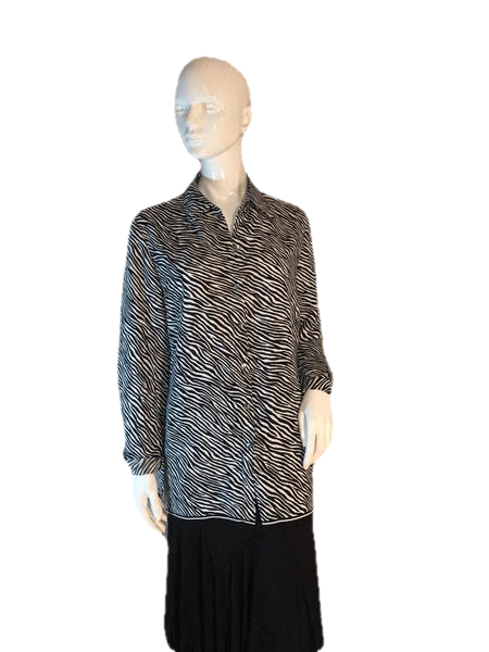 Liz Claiborne Collection Black and White Zebra Stripe Long Sleeve Top Size 10 (SKU 000205)