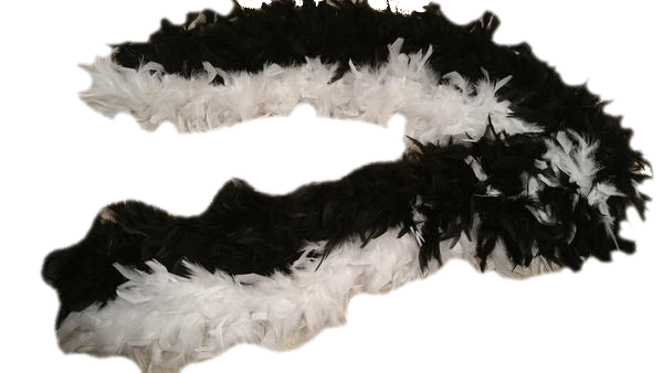 Black and White Ostrich Feather Boa SKU 000099