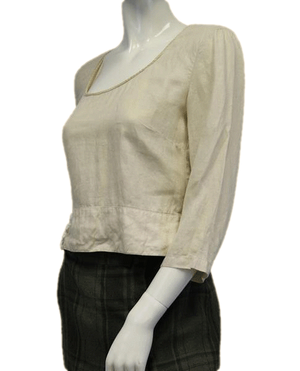 Armani Jeans Tan Round Neck Linen Top Size US 8 SKU 000052