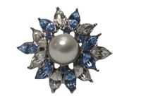 Ring Silver Starburst Pearl with Blue and Clear Rhinestones (SKU 000163-17)
