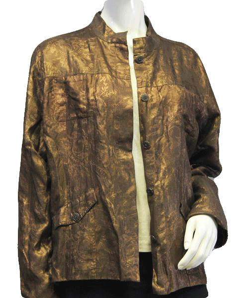 Chicos Shimmery Bronze Jacket Size 3 (SKU 000069)